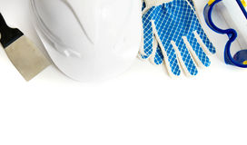 Many working tools - helmet, glove and others on Stock Images