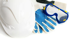 Many working tools - helmet, glove and others on Royalty Free Stock Images