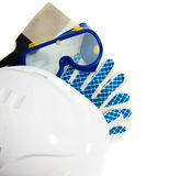 Many working tools - helmet, glove and others on Royalty Free Stock Photos