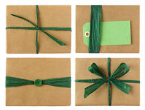 Many wrapped presents - green color theme Royalty Free Stock Images