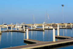 Many yachts and boats in the harbor Stock Photo