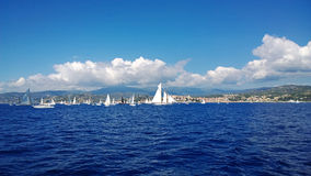 Many yachts float in the sea Stock Photos