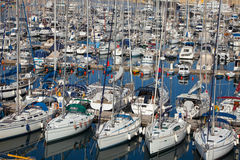 Many yachts  lying at Dockyard Creek Royalty Free Stock Image