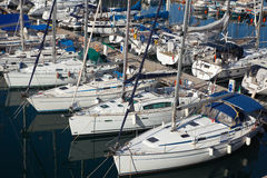 Many yachts  lying at Dockyard Creek Royalty Free Stock Photography