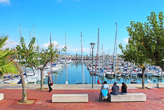 Many yachts lying at Port, Barcelona, Spain royalty free stock images