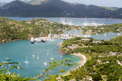 Many Yachts and Sailboats in Antigua Harbor Royalty Free Stock Photos