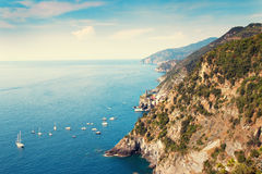Many yachts sailing in blue sea Royalty Free Stock Photography