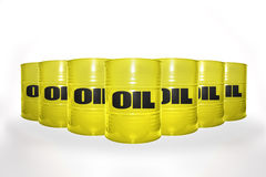 Many yellow barrels with oil on the white background Stock Photo