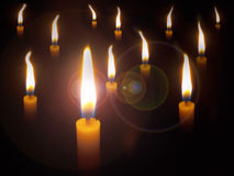 Many yellow candle Royalty Free Stock Photography