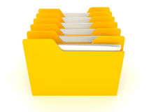 Many yellow office data folders on white Royalty Free Stock Image