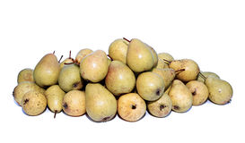 Many yellow pears isolated Royalty Free Stock Photos