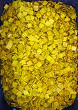 Many yellow square mosaic stone. royalty free stock images