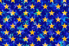Many yellow stars on blue background Stock Photo