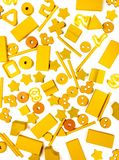 Many yellow toys stock photo
