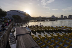 Many young active people prepare for water sports activity at Kallang river early morning. Royalty Free Stock Photo