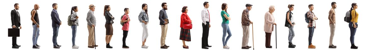 Free Many Young And Older People Waiting In Line Stock Image - 175645041