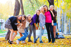 Many young girls in the park Royalty Free Stock Photo
