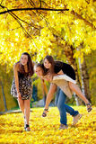 Many young girls in the park Royalty Free Stock Images