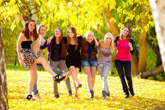Many young girls in the park Royalty Free Stock Image