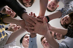 Many Young People Joined Hands Stock Images