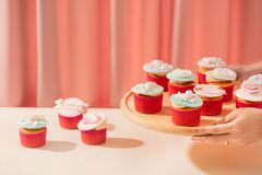 Many yummy cupcakes. Valentine sweet love cupcake on table on light background.  stock photography