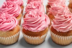 Many yummy cupcakes. On white background Royalty Free Stock Images