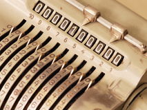 Many Zeros in the display of an old mechanical calculator Royalty Free Stock Photos