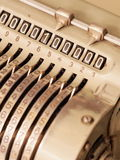 Many Zeros in the display of an old mechanical calculator Stock Images