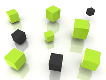 ManyCubesGreen. Many abstract green and black cubes Royalty Free Stock Photos