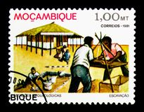 Manyikeni archeological site, Archaeological Sites in Mozambique. MOSCOW, RUSSIA - NOVEMBER 25, 2017: A stamp printed in Mozambique shows Manyikeni archeological royalty free stock photos
