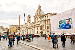 Manys tourists visit Piazza Navona in Rome, Italy Stock Images