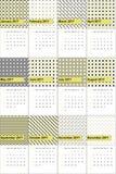 Manz和矿井上色了几何样式日历2016年 免版税库存照片