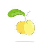 Manzana amarilla con la hoja verde Fotos de archivo