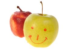 Manzana amarilla y roja Imagenes de archivo