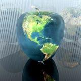 Manzana brillante con textura de la tierra ilustración del vector