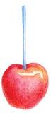 Manzana de caramelo roja en vector de la acuarela del palillo Fotografía de archivo