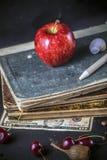 manzana de la cáscara de la pluma de la cereza del dinero de libro fotografía de archivo