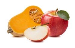 Manzana 1 de la calabaza del Butternut aislada en el fondo blanco imagen de archivo