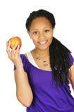 Manzana de la explotación agrícola de la muchacha Fotos de archivo
