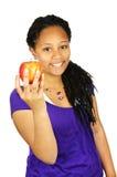 Manzana de la explotación agrícola de la muchacha Imagen de archivo