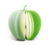 Manzana de papel del verde de la nota del palillo aislada fotografía de archivo