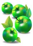 Manzana del ejemplo de la hoja de la fruta del vector fresca Imágenes de archivo libres de regalías