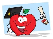 Manzana del estudiante que sostiene un diploma ilustración del vector