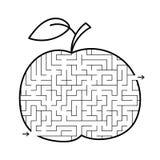 Manzana del laberinto Juego para los cabritos Rompecabezas para los niños Estilo de la historieta Enigma del laberinto Ejemplo bl ilustración del vector