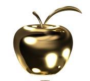 Manzana del oro con la hoja Fotos de archivo libres de regalías