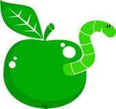 Manzana del símbolo con el gusano Foto de archivo libre de regalías