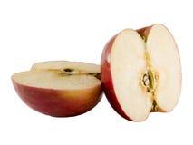 Manzana fresca de fuji cortada adentro a medias Fotografía de archivo
