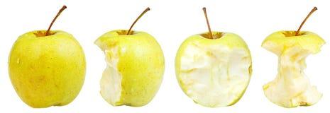 Manzana 'golden delicious' mordida y entera Fotografía de archivo libre de regalías