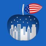 Manzana grande con el fondo azul Imágenes de archivo libres de regalías