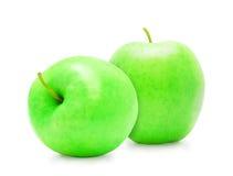 Manzana madura verde fresca dos Imagen de archivo libre de regalías